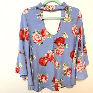 Peppermint Tops - Light Blue Floral Top Size Large Choker V-neck